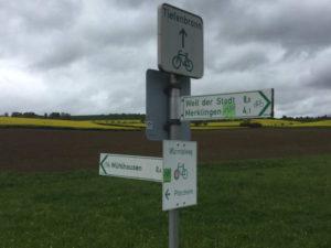 Wegweiser Würmtalradweg Weil der Stadt Radtour nach Bruchsal
