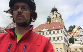 Herrenberg Ammertalradweg Kirche Fahrradfahrer Dämpf