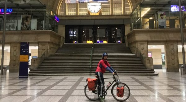 Berlin-Leipzig-Radweg - Ende Hauptbahnhof Leipzig