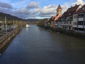 Wertheim Taubertalradweg - Tauber fließt hinten in den Main