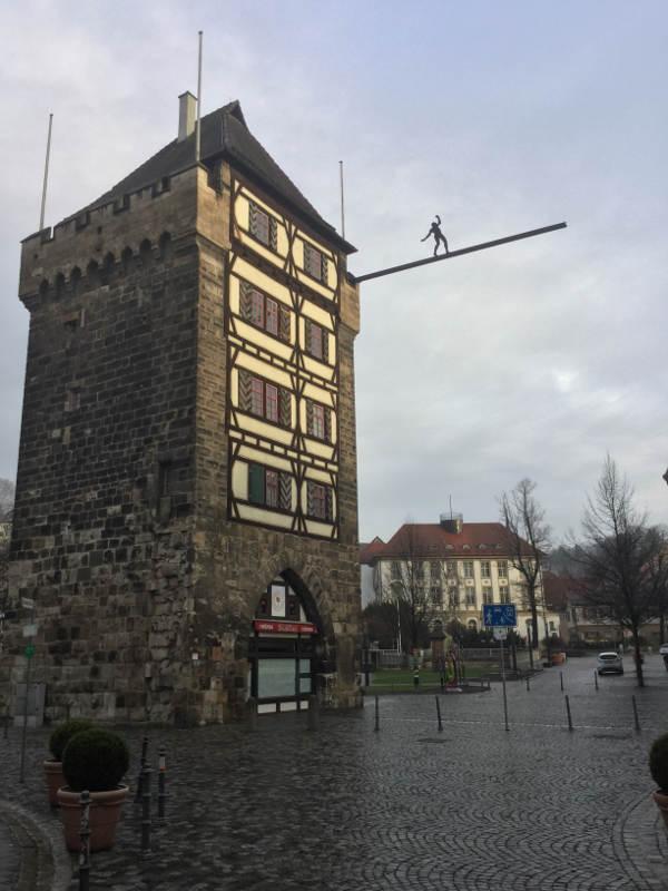 Schelztor-Turm in Esslingen Innenstadt - Hohenzollern-Radweg - Neckartalradweg