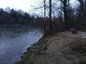 Illermündung Iller-Radweg Ulm Iller fließt in Donau