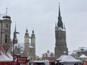 Innenstadt Halle an der Saale - Zum Saaleradweg gefahren - Markt am Marktplatz