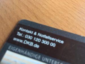 DKB Kontakt und Notfallservice Kreditkarte für Fahrradreisen