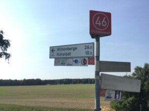 Quizöbel Fahrrad-Wegweiser nach Wittenberge nach Umweg - Elberadweg - Havelradweg