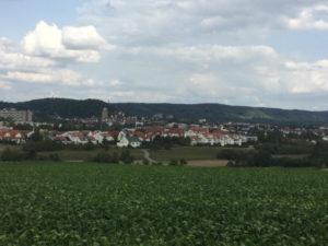 Herrenberg Aussicht mit Kirche - Radfahrt Oberjettingen - Jettinger Panoramarundweg