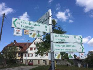 Seewald - Fahrradwegweiser - Nagoldtalradweg - Erzgrube