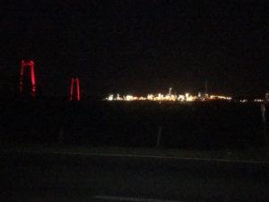 Emmerich am Rhein bei Nacht - Rheinbrücke - Rheinradweg Emmerich
