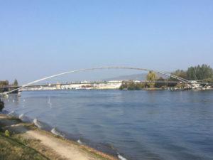 Dreiländerbrücke - Weil am Rhein - Huningue - Veloroute Rhin - französischer Rheinradweg