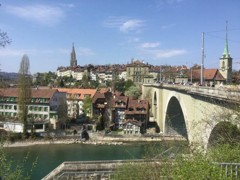 Bern - Blick auf die Stadt - Aare-Radweg - Aareradweg
