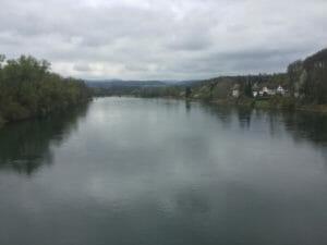 Aare-Radweg Start in Koblenz an der Aaare-Mündung in den Rhein