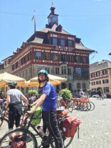 Stein am Rhein - mit Fahrradfahrer - Bodenseeradweg