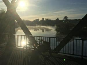 Morgen in Essen-Steele - Spillenburger Wehr - Wasserdampf - Ruhrradweg