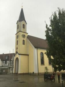 Maximiliansau - Wört am Rhein - Kirche am Marktplatz - Véloroute Rhin