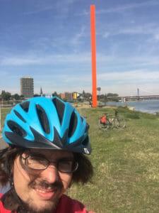 Rheinorange - Mündung der Ruhr in den Rhein - mit meinem Fahrrad und meinem Radhelm - Ruhrradweg