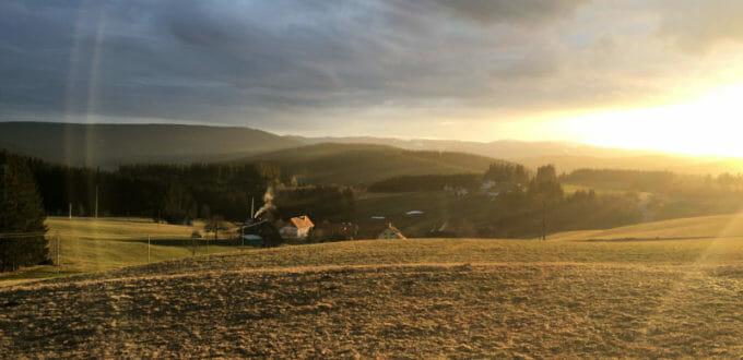 Titisee-Neustadt Schwärzenbach - Aussicht auf die Abendsonne - Schwarzwald-Panorama-Radweg