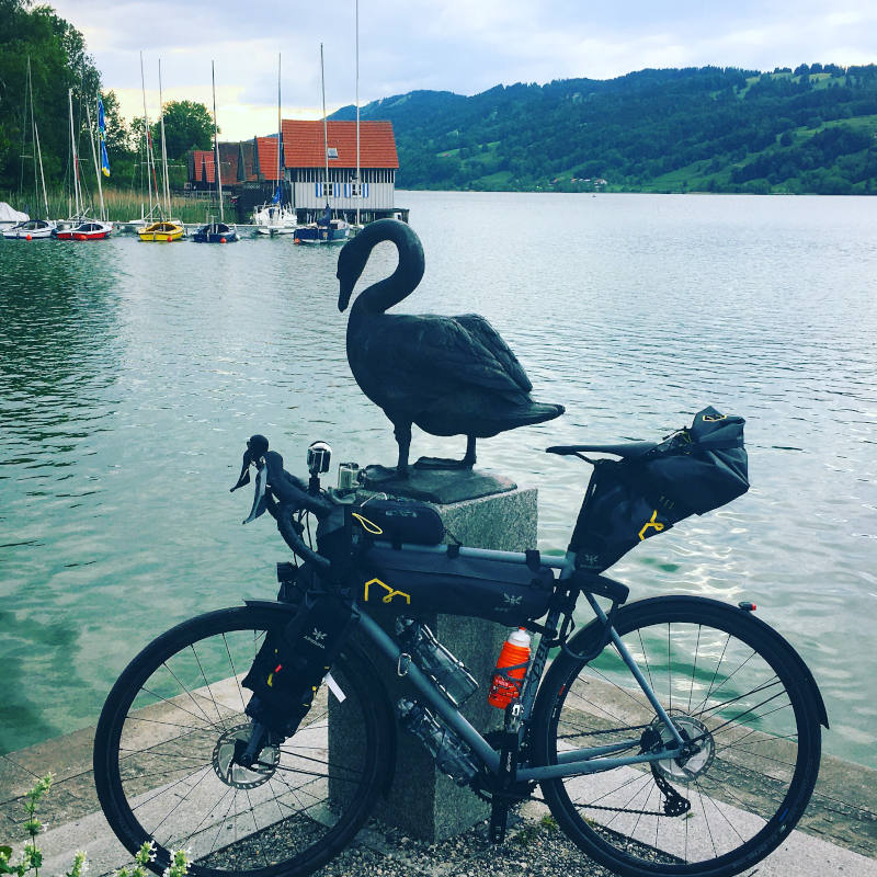 Alpsee - Immenstadt im Allgäu mit Schwan und Rennrad - Bodensee-Königssee-Radweg