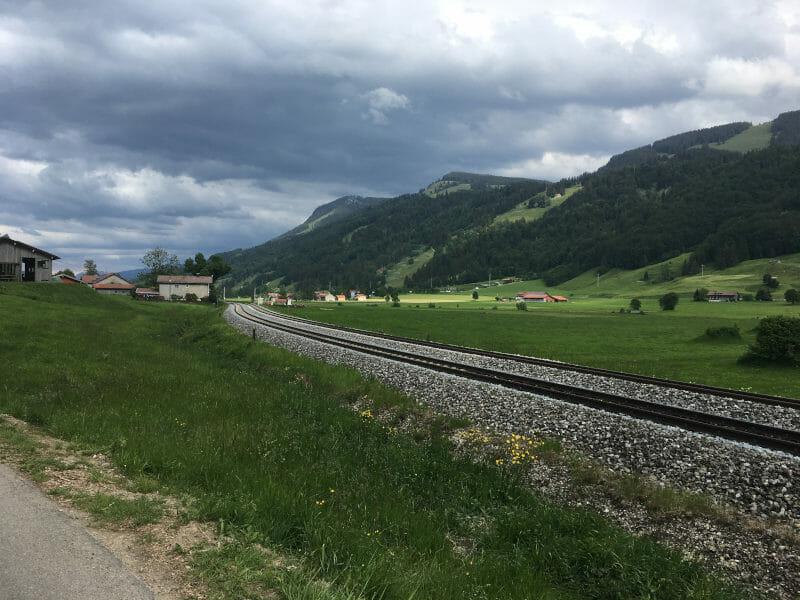 Schienen zwischen Oberstaufen und Immenstadt - Bodensee-Königssee-Radweg