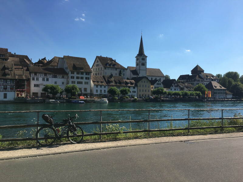 Diessenhofen - Von Gailingen am Hochrhein aus betrachtet - Rheinradweg Schweiz