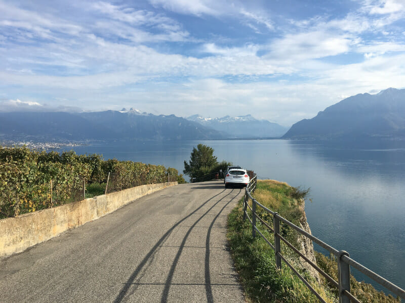 Aussicht Epesses Weinhänge am Genfer See - Rhoneradweg