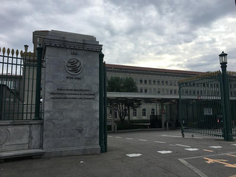Genf WTO - Welthandelsorganisation Gebäude - gesehen auf der Rhone-Route.