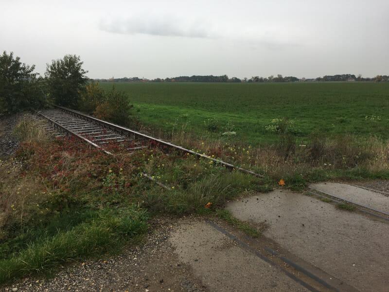 Schienen der Bahnstrecke Pratau-Torgau nach Greudnitz am Elberadweg.