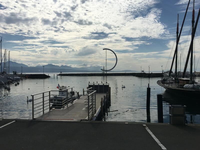 Lausanne - Hafen Ouchy - am Genfer See an der Rhone-Route.