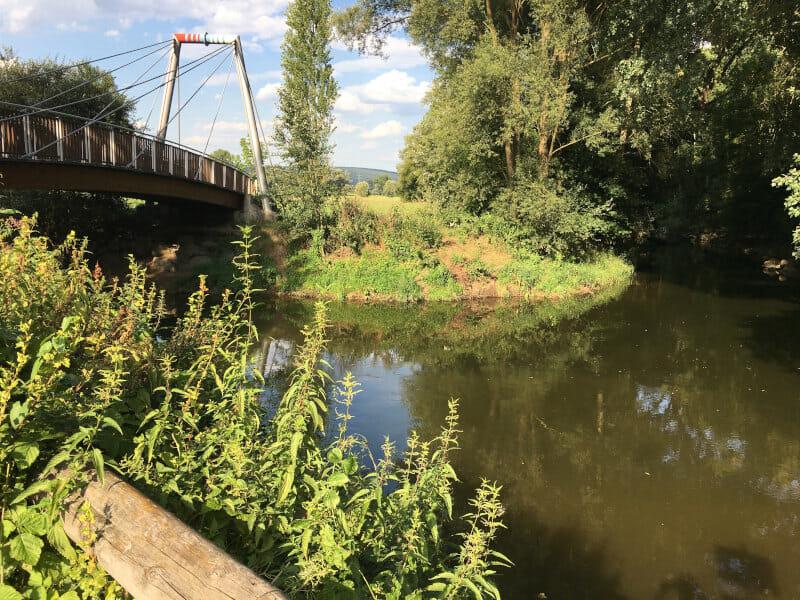 Mainzusammenfluss von Rotmain und Weißmain - Mainradweg