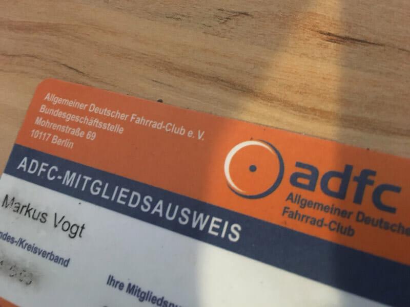ADFC-Fahrradausweis für ADFC-Mitgliedschaft