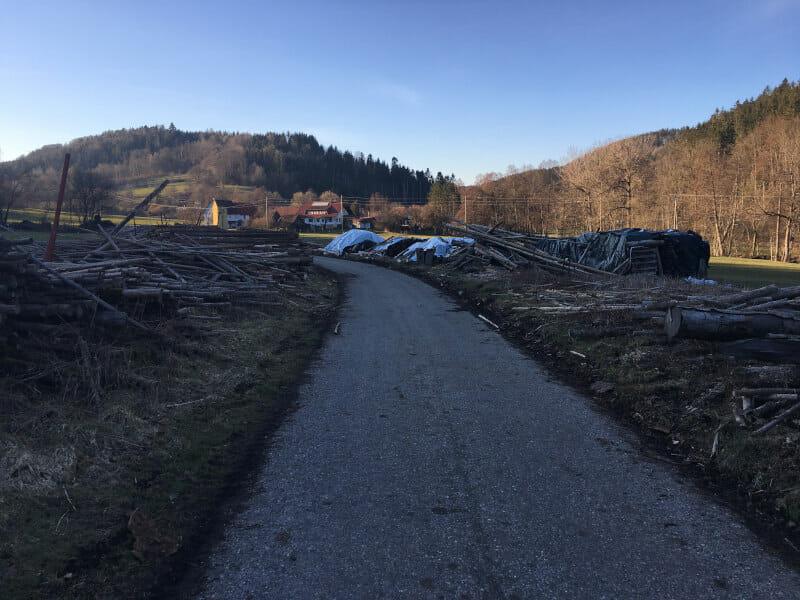Bei Oberrot - Mit Holz auf dem Radweg