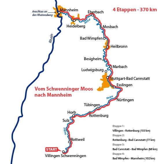 Neckarradweg Karte
