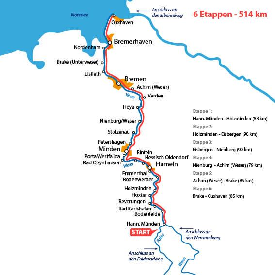 Weserradweg Karte